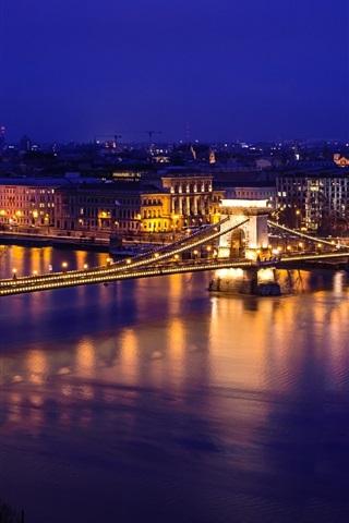 Danube River Szechenyi Chain Bridge Night Lights