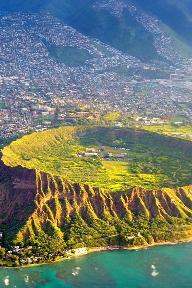 Wallpaper Diamond Head Oahu Hawaii Usa Top View