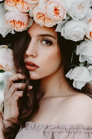 iPhone Wallpaper Different style, brown hair girl, rose flowers hat