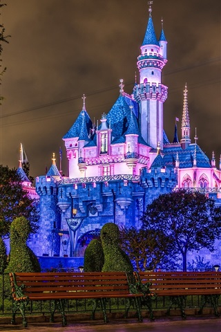 iPhone Wallpaper Disneyland, castle, blue style, night
