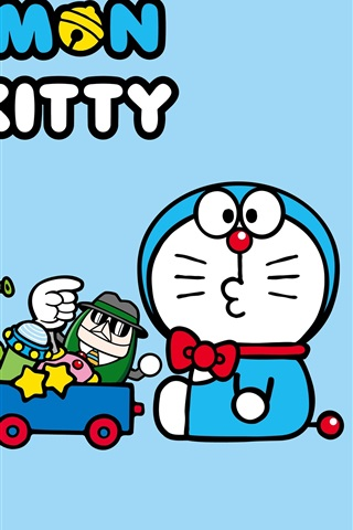 iPhone Wallpaper Doraemon with Hello Kitty