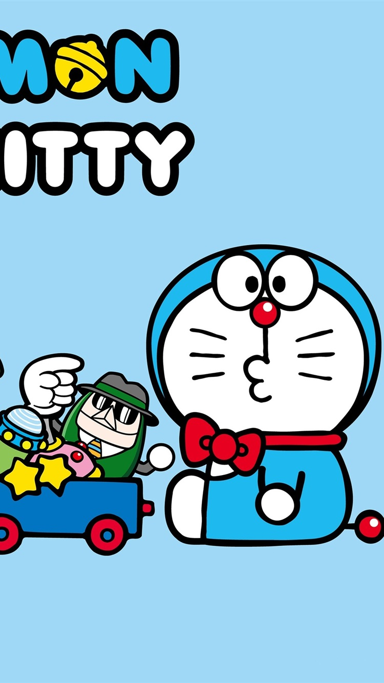Doraemon With Hello Kitty 750x1334 IPhone 8 7 6 6S Wallpaper