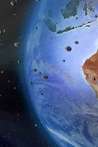 iPhone Wallpaper Earth, Australia, meteorite, space