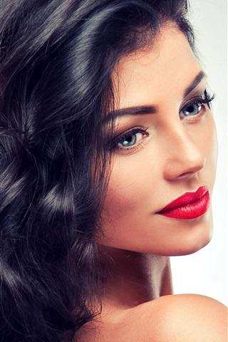 iPhone Wallpaper Fashion girl, makeup, lipstick, hair, look back