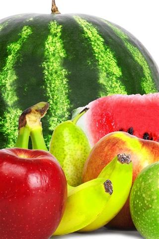 iPhone Wallpaper Fruits close-up, watermelon, apples, banana, grapes