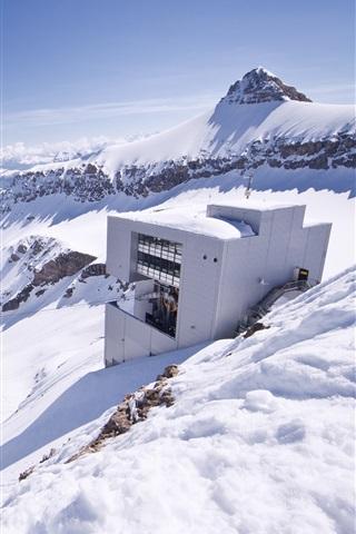 iPhone Wallpaper Glacier 3000, Switzerland, snow, mountains