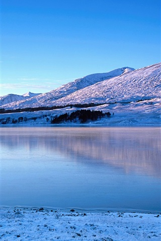 iPhone Wallpaper Glen Coe, river, winter, snow, mountains, Scotland, UK