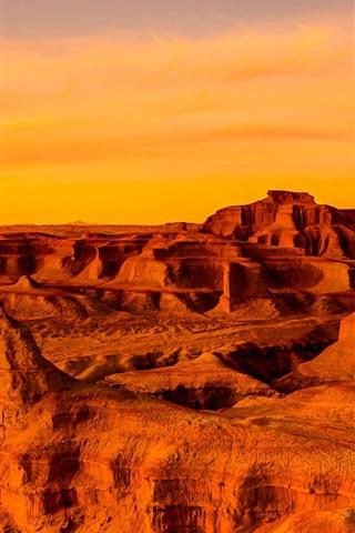 iPhone Wallpaper Gobi Desert, Mongolia, China, sunset, red style