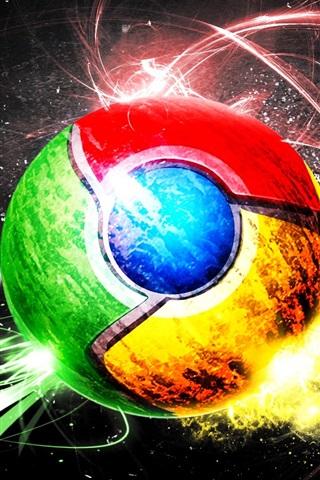 iPhone Wallpaper Google Chrome Logo, creative, wings, colorful