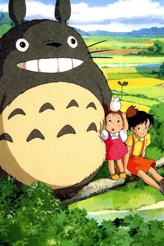 iPhone Wallpaper Hayao Miyazaki, My Neighbor Totoro, beautiful countryside
