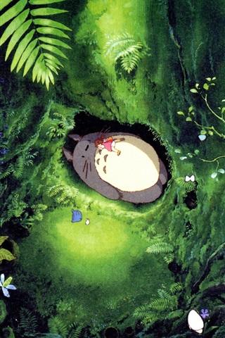 iPhone Wallpaper Hayao Miyazaki, My Neighbor Totoro, falling asleep