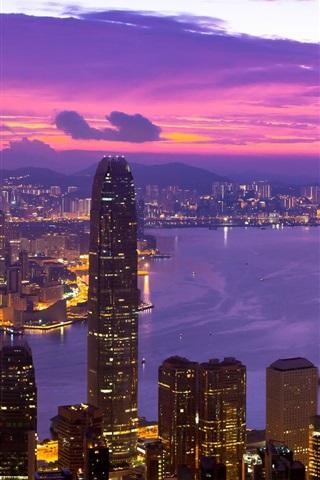 iPhone Wallpaper Hong Kong beautiful night, lights, skyscrapers, bay