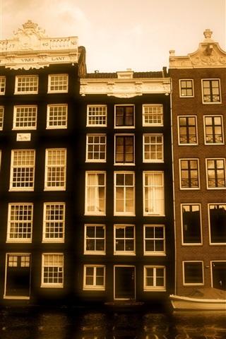 iPhone Wallpaper House, river, dusk, Holland