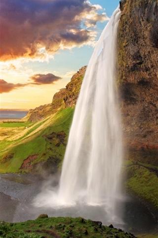 iPhone Wallpaper Iceland, Seljalandsfoss, waterfall, river, field, sunset