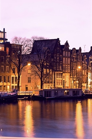 iPhone Wallpaper Illuminated, buildings, canal, night, Amsterdam, Netherlands