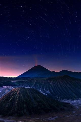 iPhone Wallpaper Indonesia, Java, Bromo volcano, night, stars