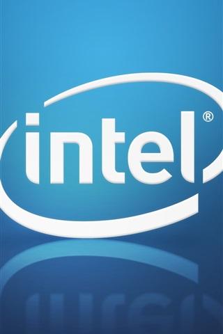 iPhone Wallpaper Intel brand logo, blue background