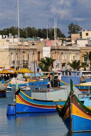 iPhone Wallpaper Island of Malta, boats, houses, sea