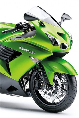 iPhone Wallpaper Kawasaki ZZR 1400 motorcycles, green color