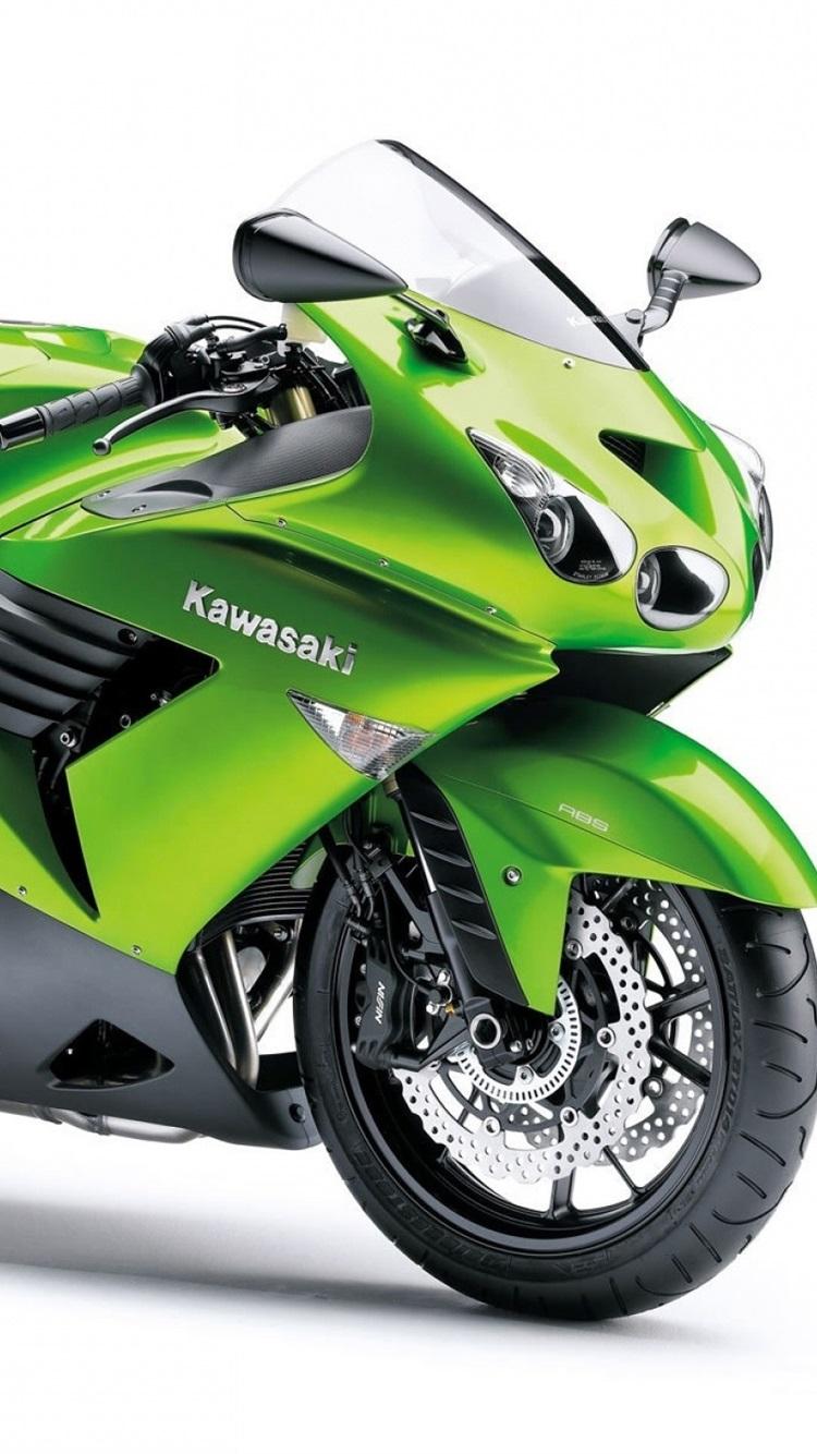 川崎zzr1400オートバイ 緑の色 750x1334 Iphone 8 7 6 6s 壁紙 背景 画像