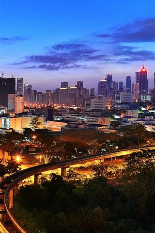 iPhone Wallpaper Kuala Lumpur, Malaysia, night city view, illumination