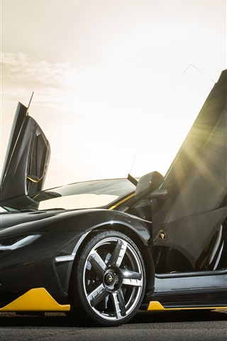 iPhone Wallpaper Lamborghini Centenario black Coupe, doors opened, sun rays