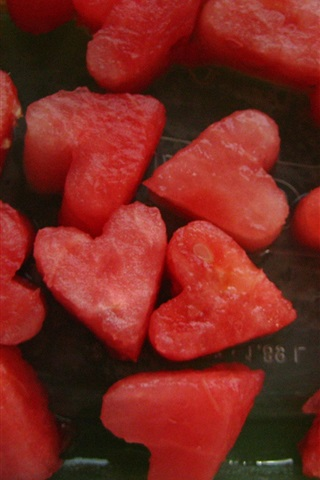 iPhone Wallpaper Love hearts shaped watermelons