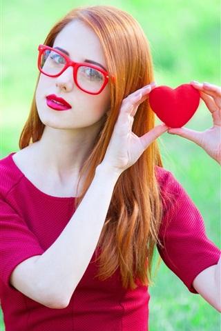 iPhone Wallpaper Lovely girl, red dress, posture, glasses, love hearts