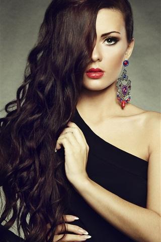 iPhone Wallpaper Makeup fashion girl, red lips, long hair, earrings, shoulder black dress