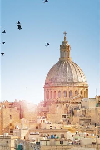 iPhone Wallpaper Malta, Valletta City town, buildings, birds, sun rays