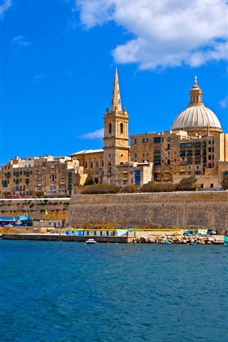 iPhone Wallpaper Malta, island, sea, coast, houses, boats, blue sky