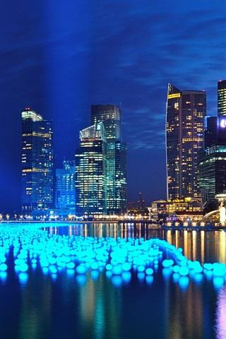 iPhone Papéis de Parede Marina Bay, Singapura, noites, luzes, arranha-céus
