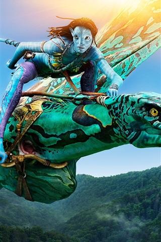 iPhone Hintergrundbilder Neytiri in Avatar, Reiten Banshee