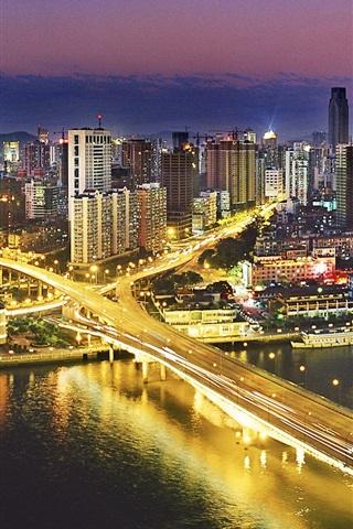 iPhone Wallpaper Night view Guangzhou, China, buildings, bridge, illumination