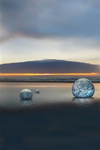 iPhone Papéis de Parede Oil exploração torre, pôr do sol, mar, esfera de pedra