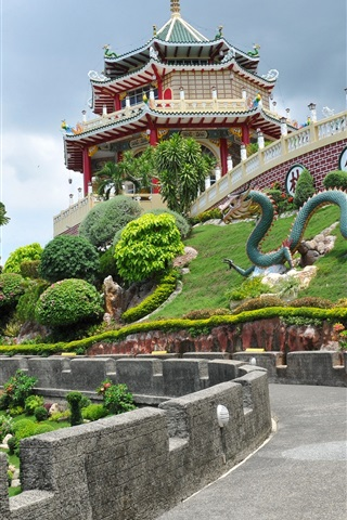 iPhone Wallpaper Philippines, Cebu, Taoist Temple, road, trees