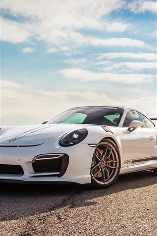 iPhone Wallpaper Porsche 911 Turbo V-RT white supercar