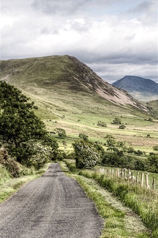 iPhone Wallpaper Road, trees, mountains, Lake District National Park, Cumbria, UK
