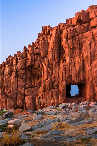 iPhone Wallpaper Rock window, desert, Sardinia, stones, coast, sea