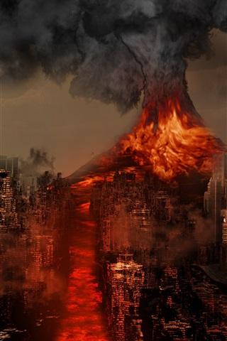 iPhone Wallpaper Sakurajima Volcano, Japan, disaster, lava, city destroy, creative design
