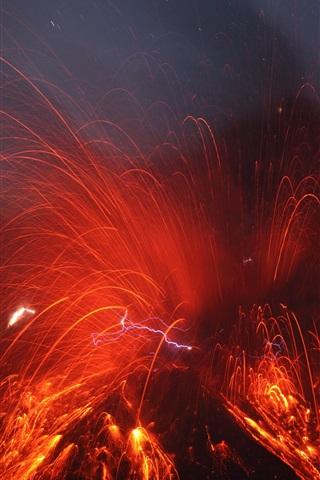 iPhone Wallpaper Sakurajima Volcano eruption, magma splash, Japan