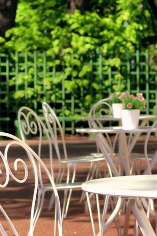 iPhone Wallpaper Sankt Petersburg, Summer Garden, Russia, rest area, table, chair
