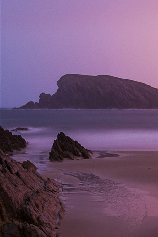 iPhone Wallpaper Sunrise beach, near Santander, northern Spain