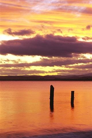 iPhone Papéis de Parede Nascer do sol, céu vermelho, Bridport, nordeste da Tasmânia, Austrália