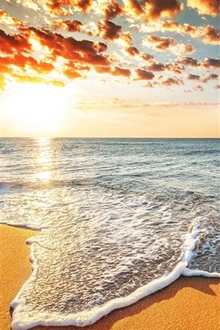 iPhone Wallpaper Sunset beach, sands, sea, waves, clouds, beautiful landscape