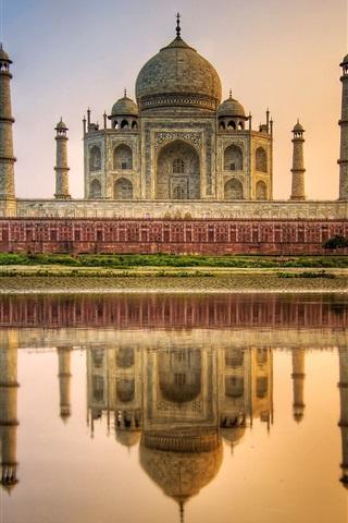 iPhone Wallpaper Taj Mahal, mausoleum, river, water reflection, India
