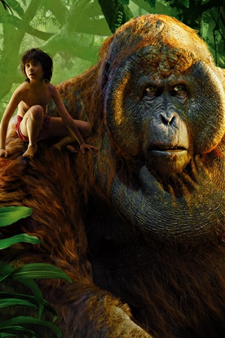 iPhone Wallpaper The Jungle Book 2016, boy and gorilla