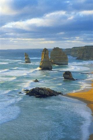 iPhone Wallpaper Twelve Apostles, Port Campbell National Park, Victoria, Australia, sea, clouds