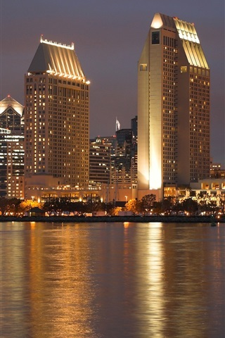 iPhone Wallpaper USA, California, San Diego, city night, skyscrapers, lights, river