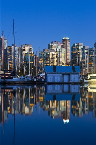 iPhone Wallpaper Vancouver, British Columbia, Canada, city night, boats, skyscrapers, water reflection